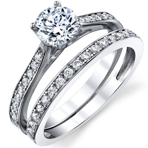Oliveti Cubic Zirconia Wedding Band Engagement Ring Bridal Sets 925 Sterling Silver - Clear