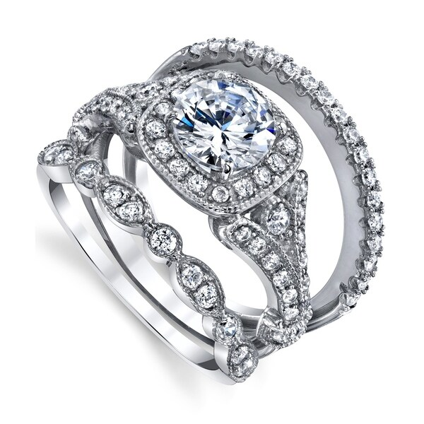 14k White Gold Sterling Silver Round Diamond Engagement Ring Wedding Bridal Set