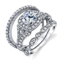 Oliveti Sterling Silver 925 Vintage Engagement Rings Wedding Band Bridal Set Round CZ - Clear