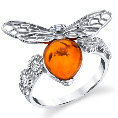 Oliveti Sterling Silver 925 Designer Inspired Honey Bee Cognac Baltic Amber Ring - Orange
