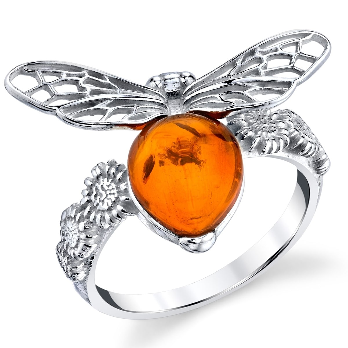 925 Sterling Silver Ring 14 x 9 mm Genuine Cognac Baltic Amber