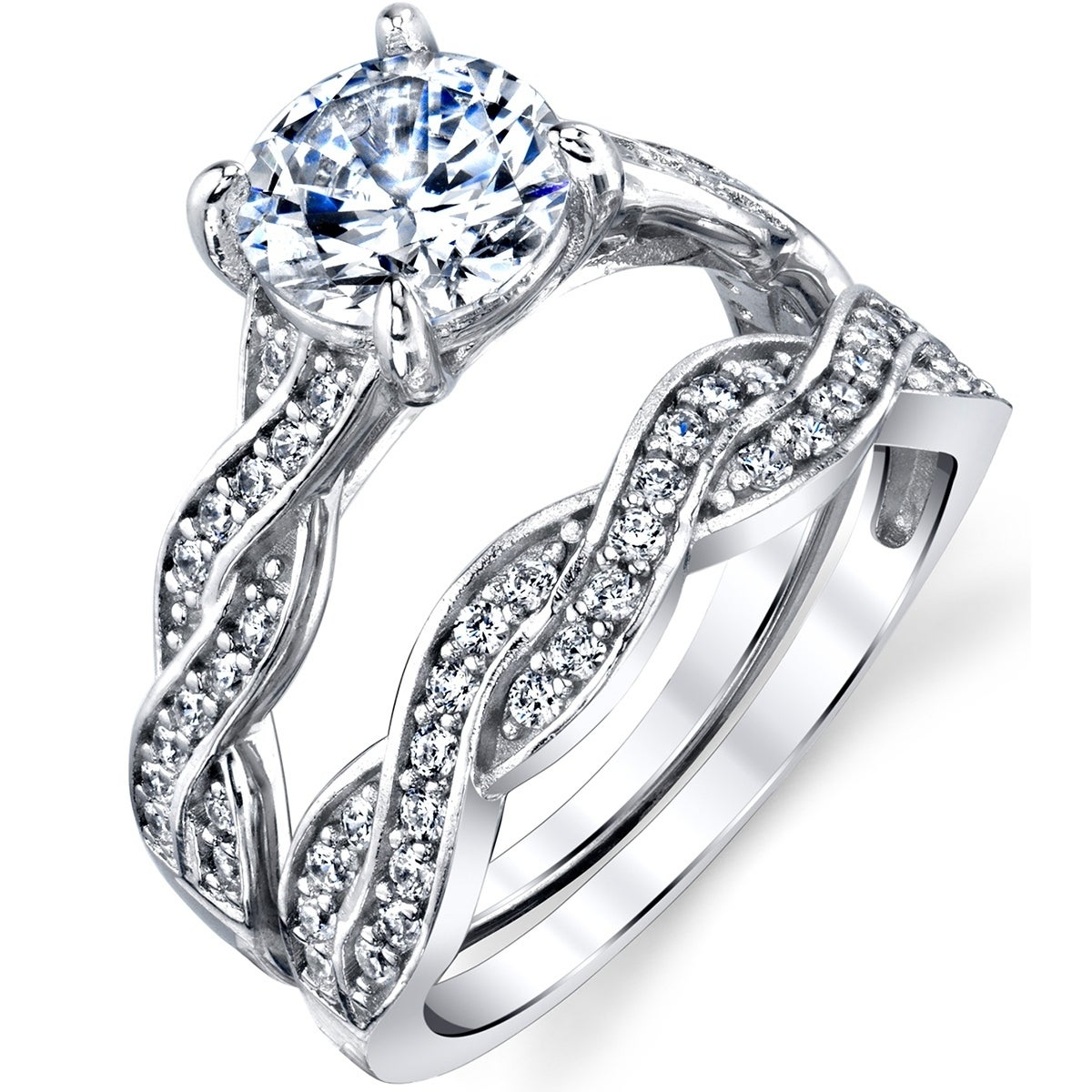 Oliveti Sterling Silver Infinity Cubic Zirconia Wedding Band Engagement Ring Bridal Set Clear