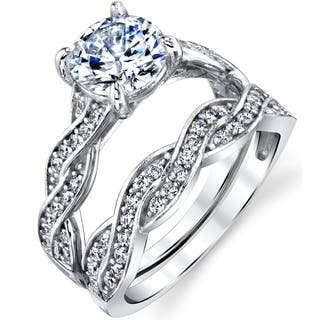 Oliveti Sterling Silver Infinity Cubic Zirconia Wedding Band Engagement Ring Bridal Set - Clear