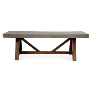Modrest Revok Modern Concrete & Acacia Dining Table - Grey