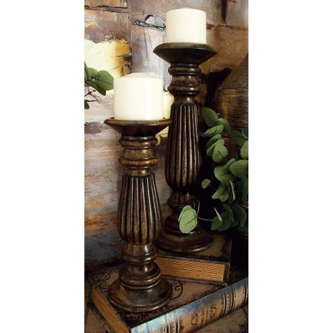 Copper Grove Kitty Wood Candle Holders (Set of 3)