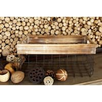 The Gray Barn Jartop Farmhouse Rustic Iron and Wood Baskets (Set of 2)
