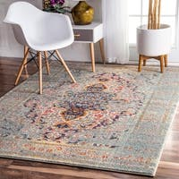 The Curated Nomad Granito Distressed Traditional Vintage Medallion Grey Rug - 7'10 x 11'