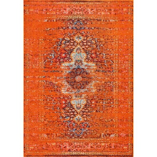 The Curated Nomad Granito Distressed Traditional Vintage Medallion Rug (4 x 5 - Orange)