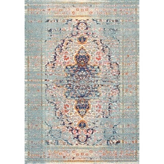 The Curated Nomad Granito Distressed Traditional Vintage Medallion Rug (710 Square - Grey)