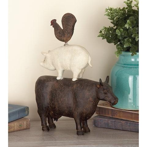 The Gray Barn Jartop Brown/Pink Polystone Farm Animal Stack