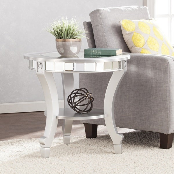 Silver Orchid Olivia Glam Mirrored Round End Table - Matte Silver
