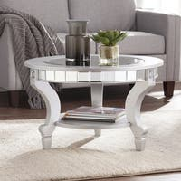 Silver Orchid Olivia Glam Mirrored Round Cocktail Table - Matte Silver