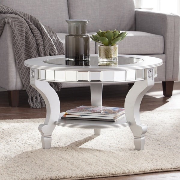 Mirrored Coffee Table Sale: Shop Silver Orchid Olivia Glam Mirrored Round Cocktail