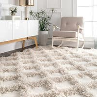 Carson Carrington Hjallerup Soft and Plush Diamond Raised Trellis Shag Rug