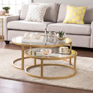 Silver Orchid Grant Glam Nesting Tail Table 2 Piece Set
