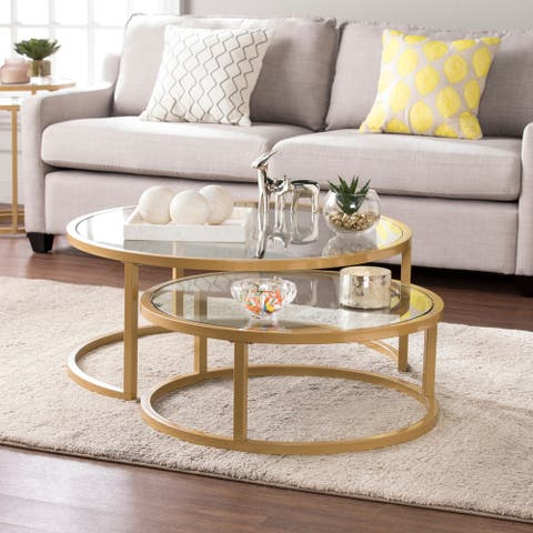 Silver Orchid Grant Glam Nesting Cocktail Table 2pc SetGold
