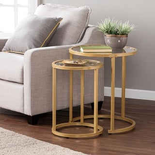 Silver Orchid Grant Glam Nesting Side Table 2pc Set - Gold