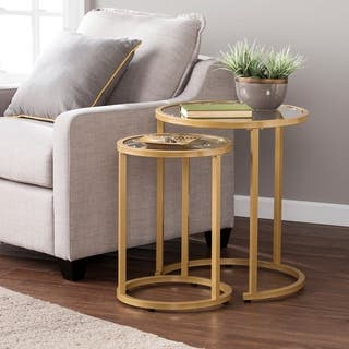 Silver Orchid Grant Glam Nesting Side Table 2pc Set Gold
