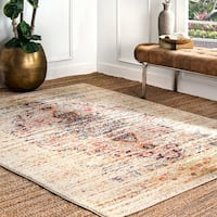 The Gray Barn Joad Beige/ Multicolored Distressed Traditional Medallion Area Rug - 9' x 12'