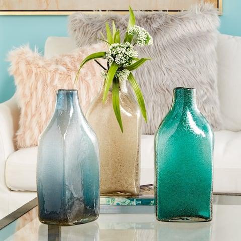 "Coastal Gray, Beige & Green Glass Bottles Set of 3 6"" x 15"" Each"