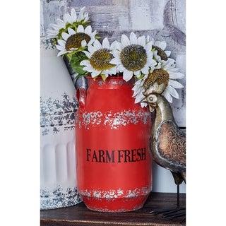 The Gray Barn Jartop Farm Fresh Red Iron 2-piece Milk Can Set