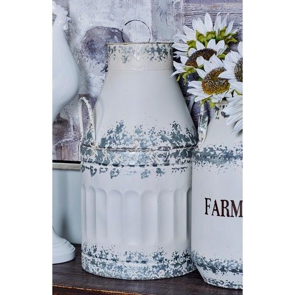 The Gray Barn Jartop White Iron Round Rustic Milk Can Decor (Set of 2)