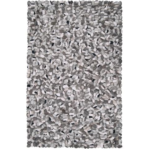 Hand-woven New Zealand Felted Wool Stone Look Textured Area Rug - 9' x 13'