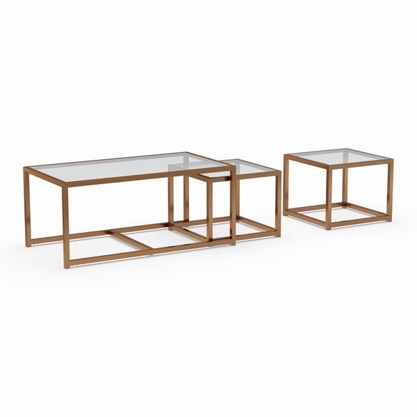Silver Coffee Table And End Table Set: Shop Silver Orchid Grant Nesting Coffee/ End Table 3-piece