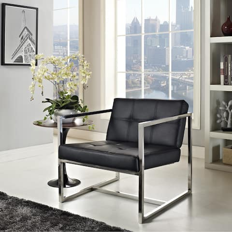 Silver Orchid Lee Hover Black Modern Reception Chair