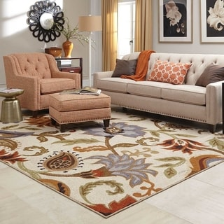 """Copper Grove Apache Loop Pile Over Scale Floral Ivory/ Multi Nylon Rug - 5'3"""" x 7'3"""""""