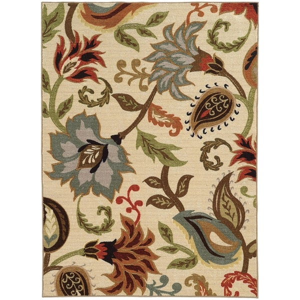 """Copper Grove Apache Loop Pile Over Scale Floral Ivory/ Multi Nylon Rug - 7'10"""" x 10'"""