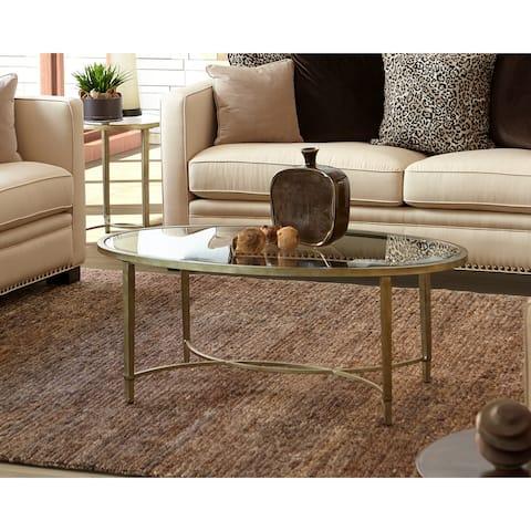 Strick & Bolton Lockwood Silvertone Oval Coffee Table