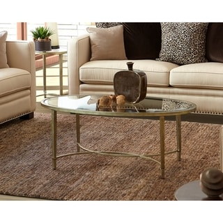 Strick & Bolton Lockwood Silvertone Oval Coffee Table