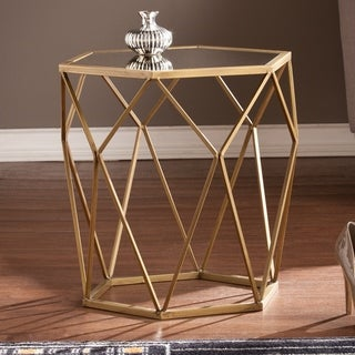 Link to Silver Orchid Grant Antiqued Gold Mirrored Geometric Accent Table Similar Items in Living Room Furniture