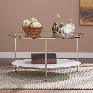 Silver Orchid Grant Clear/Gold/White Glass and Iron Coffee/Cocktail Table
