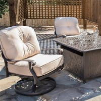 Havenside Home Saybrook Club Black Aluminum Swivel Chairs with Beige Sunbrella Cushions (Set of 2)