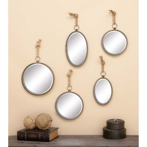 The Gray Barn Jartop Traditional Beveled Round/ Oval Floating Mirrors (Set of 5) - Brown/Grey