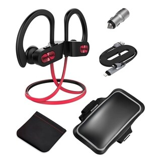 Mpow Flame Bluetooth Headphones with Armband, Car Charger, 2-in-1 Charging Cable, Carrying Pouch