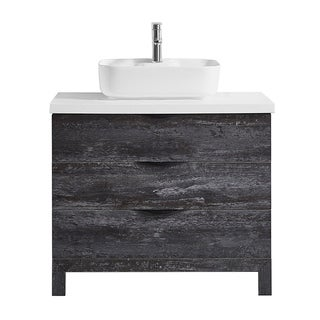 """Spencer 36"""" Single Vanity in Suede Elegant Grey with Fine White Quartz Stone without Mirror"""