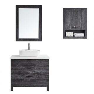 "Spencer 36"" Single Vanity in Suede Elegant Grey with Fine White Quartz Stone with Mirror"