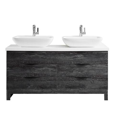 """Spencer 60"""" Double Vanity in Suede Elegant Grey with Fine White Quartz Stone without Mirror"""