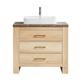 "Alpine 36"" Single Vanity in Glacier Canyon Oak with White Drop-In Porcelain Vessel Sink without Mirror"