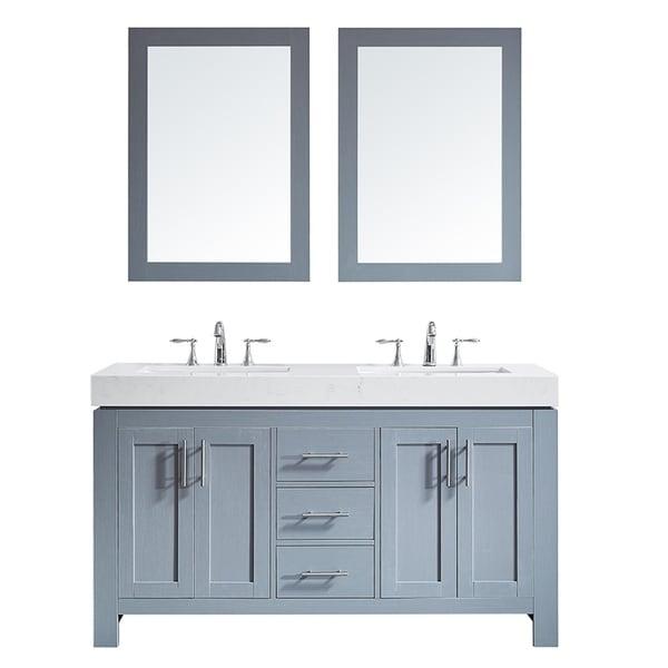 "Essex 60"" Double Vanity in Elegant Grey with Ascot Quartz Stone Countertop with Mirror"