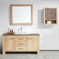 """Alpine 60"""" Single Vanity in Glacier Canyon Oak with White Drop-In Porcelain Vessel Sink with Mirror"""