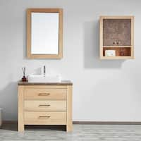 """Alpine 36"""" Single Vanity in Glacier Canyon Oak with White Drop-In Porcelain Vessel Sink with Mirror"""