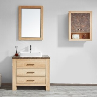 "Alpine 36"" Single Vanity in Glacier Canyon Oak with White Drop-In Porcelain Vessel Sink with Mirror"
