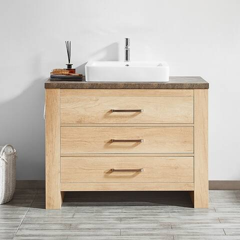 "Alpine 42"" Single Vanity in Glacier Canyon Oak with White Drop-In Porcelain Vessel Sink without Mirror"