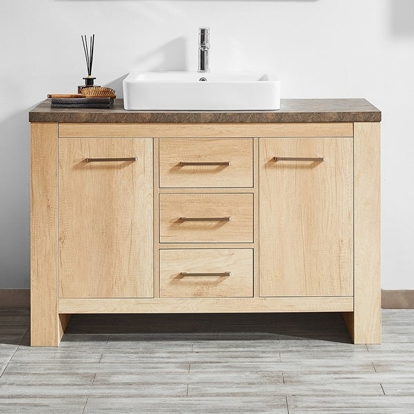 """Alpine 48"""" Single Vanity in Glacier Canyon Oak with White Drop-In Porcelain Vessel Sink without Mirror"""