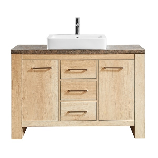 "Alpine 48"" Single Vanity in Glacier Canyon Oak with White Drop-In Porcelain Vessel Sink without Mirror"