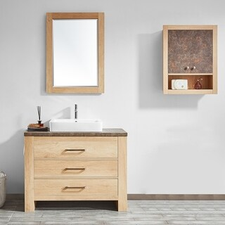 "Alpine 42""Single Vanity in Glacier Canyon Oak with White Drop-In Porcelain Vessel Sink with Mirror"